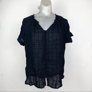 Anthropologie Ro&De Black Short Sleeve Button Top